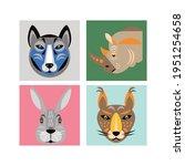 animals faces. vector... | Shutterstock .eps vector #1951254658