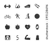 fitness icons | Shutterstock .eps vector #195128696