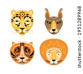 animals faces. feline animals... | Shutterstock .eps vector #1951289968