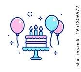 cartoon birthday cake with... | Shutterstock .eps vector #1951306972
