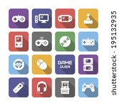 video game icons with shadow ... | Shutterstock .eps vector #195132935