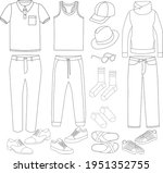 sketch set of mens fashion... | Shutterstock .eps vector #1951352755