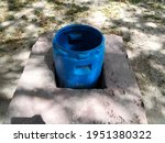Blue Drum Barrel Placed In A...