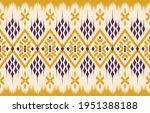 yellow ethnic abstract ikat art....   Shutterstock .eps vector #1951388188
