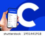 Small photo of San Francisco, CA, USA, April 7 2021: cryptocurrency quotes on the Coinbase app screen on a smartphone screen. Business and technology. Exchange of cryptocurrencies. Digital finance and stock market