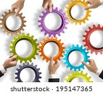 teamwork and integration... | Shutterstock . vector #195147365