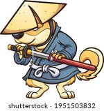 shiba dog with japanese ronin... | Shutterstock .eps vector #1951503832