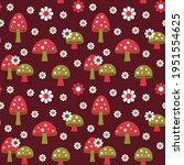Mushrooms And Daisy Retro...