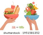 food choice concept. two hands...   Shutterstock .eps vector #1951581352