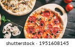 pizza pepperoni with prosciutto ... | Shutterstock . vector #1951608145