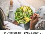 woman in jeans holding fresh... | Shutterstock . vector #1951630042