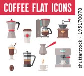 coffee vector icons in flat... | Shutterstock .eps vector #195170078