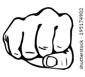 vector line art fist | Shutterstock .eps vector #195174902