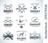 Set of Vintage Labels With Retro Typography for Men's Hobbies Such as Hunting Arms Dog Breeding Car Repair etc