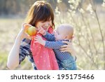 young woman with her little... | Shutterstock . vector #195175466