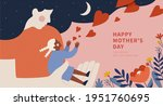 silhouette of a long hair... | Shutterstock . vector #1951760695