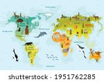 world map with different animal.... | Shutterstock .eps vector #1951762285