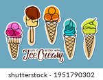 sticker collection of ice cream.... | Shutterstock .eps vector #1951790302