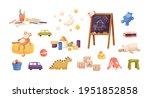 set of kid plush and plastic... | Shutterstock .eps vector #1951852858