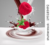 Raster version. Appetizing raspberries falling into milk and chocolate mix - stock photo