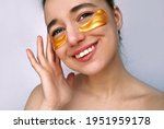 a young girl with golden spots...   Shutterstock . vector #1951959178