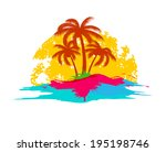 summer holiday logo with sea... | Shutterstock . vector #195198746