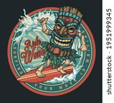 surfing vintage round colorful... | Shutterstock .eps vector #1951999345