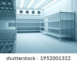 Small photo of Refrigeration Chamber for Food Storage. Metal Shelves and Racks for String Frozen Foods. Food Freezing Shop. Selective Storage System. Cold Warehouse. Air conditioning on a warehouse wall.