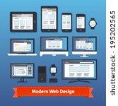 modern responsive web design... | Shutterstock .eps vector #195202565