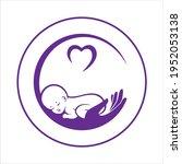 baby sleeping in hand. logo of... | Shutterstock .eps vector #1952053138