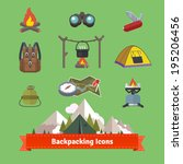 backpacking and hiking flat... | Shutterstock .eps vector #195206456