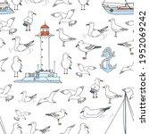 hand drawn summer seaside... | Shutterstock .eps vector #1952069242