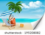 beach with palm trees and beach ...   Shutterstock . vector #195208082
