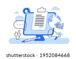 vector art of paper fastened to ... | Shutterstock .eps vector #1952084668