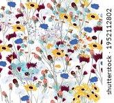 field vector wild flowers... | Shutterstock .eps vector #1952112802