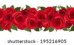 Stock vector horizontal seamless background with red roses vector illustration 195216905