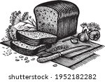 bread with garlic and cumin ... | Shutterstock .eps vector #1952182282