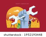 hands up labour day concept... | Shutterstock .eps vector #1952193448