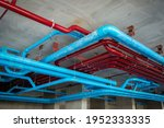 Red Fire Water Pipes On The...
