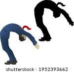 Silhouette icon of businessman in suit bending over backwards. Vector illustration.