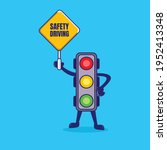 traffic light cartoon with... | Shutterstock .eps vector #1952413348