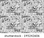 seamless doodle communication... | Shutterstock .eps vector #195242606