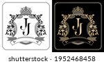 j j royal emblem with crown ... | Shutterstock .eps vector #1952468458