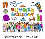 group of multiethnic children... | Shutterstock . vector #195254348