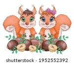 cute cartoon squirrel with... | Shutterstock .eps vector #1952552392