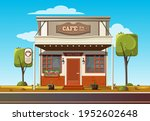 small roadside cafe. cozy cafe... | Shutterstock .eps vector #1952602648