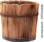 Wooden Bucket On White...