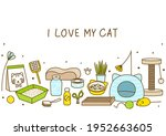 horizontal border with of cute... | Shutterstock .eps vector #1952663605