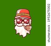 santa claus head with santa red ... | Shutterstock .eps vector #1952675302