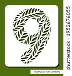 stencil with the number nine  ... | Shutterstock .eps vector #1952676055